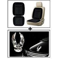 Vheelocity Car Wooden Bead Seat Cushion With Black Velvet Border + Chrome Eagle Emblem Logo For Car Modification