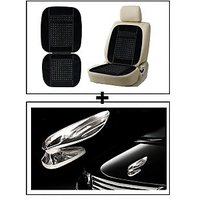 Vheelocity Car Wooden Bead Seat Cushion With Black Velvet Border + Chrome Wing Emblem Logo For Car Modification