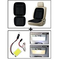 Vheelocity Car Wooden Bead Seat Cushion With Black Velvet Border + Super Bright Car Roof Light / Dome Light - Square