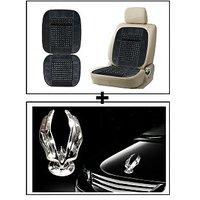 Vheelocity Car Wooden Bead Seat Cushion With Grey Velvet Border + Chrome Eagle Emblem Logo For Car Modification