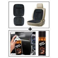 Vheelocity Car Wooden Bead Seat Cushion With Grey Velvet Border + Fms Car Dashboard Wax Spray 450Ml