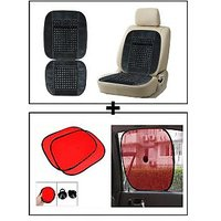 Vheelocity Car Wooden Bead Seat Cushion With Grey Velvet Border + Car Side Window Sunshades Stick On Sun Shade - Set Of 2 Pcs (Red)