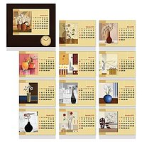 Floral Vases Calendar Cum Photo Frame With Clock