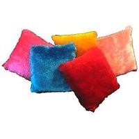 Chaddarwala Supersoft Fur Design Multicolor Cusions - Pack Of 5