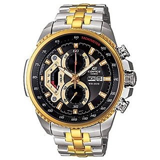 CASIO EDIFICE EF 558D SG BLACK GOLD CHRONOGRAPH MENS DAY DATE WRIST WATCH GIFT