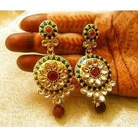 LALSO Antique Jhumki Bollywood Jewellery Polki Earrings,Wedding,Party,Gift