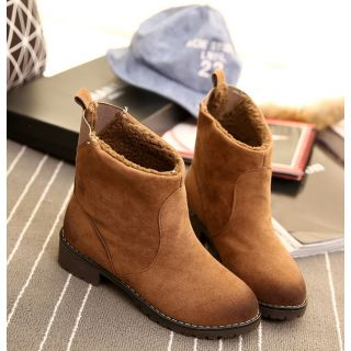 Brown Ankle Length Pu Boots