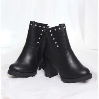 Black Pu Ankle Length Boots With Block Heel