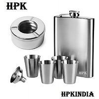 HPK Hip Flask With Funnel Glasses And Ashtray