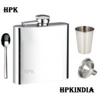 Hpk Hip Flask With Glass, Funnel & Spoon