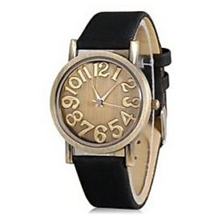 Womage Round Dial Quartz Analog Watch With Faux Leather Strap (Black) M.