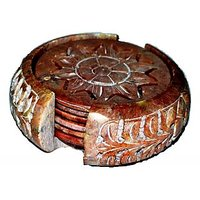 Sugaas Brown Marble Stone Crafted Tea Coaster Set