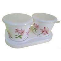 Czar Dine Smart Pink Flower Print 2 Set Jars Set With Tray