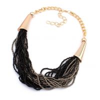 Cilver Fashion Black And Grey Beads Multilayer Statement Necklace