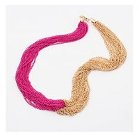 Cilver Fashion Pink And Gold Chain Necklace