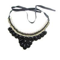 Cilver Fashion Black Beads Ribbon Necklace