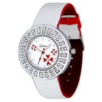 Gesture Analog Diamond Studded White Leather Watch - Women
