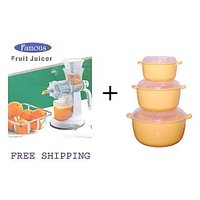 COOK AND SERVE MICROWAVE 3 PCS CONTAINER SET WITH LIDS (MEDIUM) + Famous Juice M