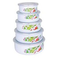 5Pcs Enamelware Storage Bowl With Plastic Cover