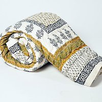 Bajya Jaipuri Floral Print Pure Cotton Double Bed Quilt Jaipuri Razai