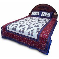Sanganeri Print Blue Cotton Double Bedsheet Set 357