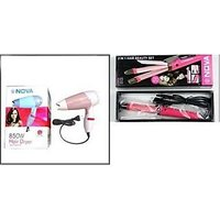 Combo Of Nova 2 In1 Hair Straightener And Nova 1000w Hair Dryer