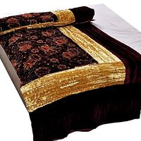 Bajya Jaipuri Maroon Jaipuri Double Bed Velvet Quilt 407