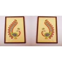 Elegant Kundan Wall Art - Set Of 2 Peacocks