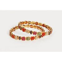 Porcupine Pair Of Gold Plated Bangles With Ruby, Emerald, Coral, Pearls, Blue Sapphire PN-JW-BG-409-2.4
