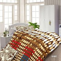 Luxe Brown And Blue Cotton Geometrical Double Bed Sheet With 2 Pillow Covers