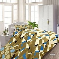 Luxe Green And White Cotton Geometrical Double Bed Sheet With 2 Pillow Covers - 7186444