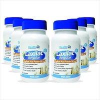 Healthvit Laxilac Regular Psyllium Husk Powder 60 Capsules Pack Of 6