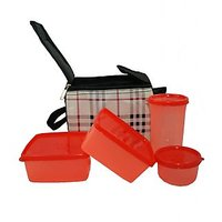 Topware Lunch Box (check Design) Food Grade Containers & Insulated Bag (4 Pcs.)