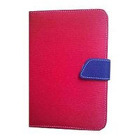 J & A Universal Flip Case Cover For HCL Me Tab V1 (Red & Blue)