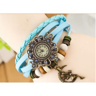 ELEGANZZA GENUINE LEATHER WOMEN'S WATCH BRACELET LADIES WATCH SKY BLUE MOON GIRL