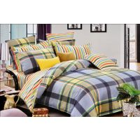 Valtellina Delightful Check And Line Print Design Double Bed Sheet (CS-016)