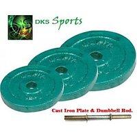 20 Kg Cast Iron Plate & 2 Pcs Dumbbell Rod