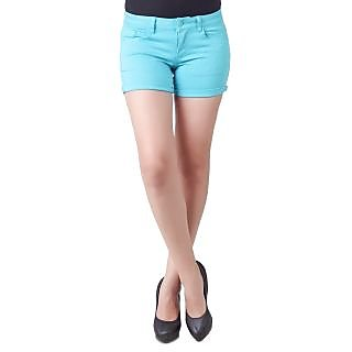 Deal Modish Turquoise Poly Cotton Shorts [CLONE] - 7245046