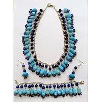 Beauty Wear's Aqua And Cobalt Blue Colour Bead Necklace,bracelet And Ear Drops
