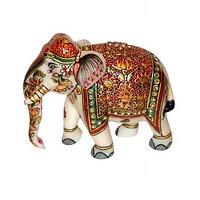 Anshul Fashion Handicraft & Home Decor Marble Meena Elephant With Kundan Work