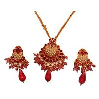 Fashion Necklace Set Nec-009 Red And Golden