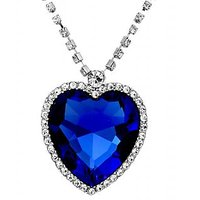 The Famous Titanic Blue Sapphire Heart Pendant Necklace For Women