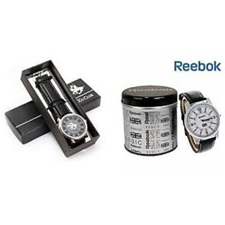 Combo Offer Reebok(white) + Ustin Polo(black) Club Watches