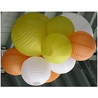 16 Inch Paper Lantern Pack Of 6, Color, Oreang,yellow,white