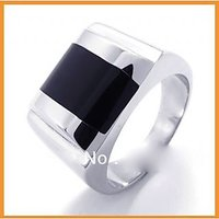 Punk Rock Accessories Fashion Stainless Steel Black Agate Rings Man Ring