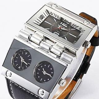 New Mens Army Military Sport Black Leather Quartz Watch