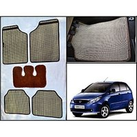 Washable Car Floor Mats For TATA Indica Vista - (Retro Design - Beige & Brown)