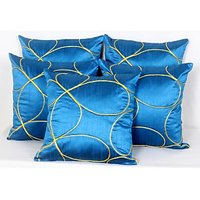 Madhavs Blue Yellow Embroidered Cushions Sty01491