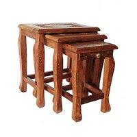Mavi Sheesham Wood Nest Table (set Of 3 Table)-MNS-114