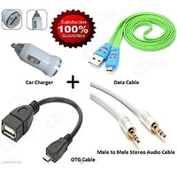 Combo Offer OTG + Data Cable For Mobile + Car Mobile Charger + Audio Cable
